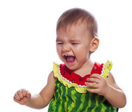 Crying cute baby girl stock image