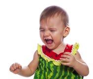 Crying cute baby girl Stock Image