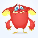 Crying cute monster cartoon. Red adorable tiny monster troll, gremlin or goblin crying with tear. Vector illustration Royalty Free Stock Images