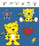 Crying Cute tiger funny expressions cartoon set Royalty Free Stock Photography