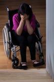 Crying disabled woman Stock Photos