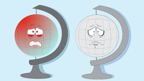 Crying Earth globes. vector illustration