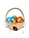 Crying easter basket cartoon Stock Photos