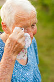 Crying elderly woman Royalty Free Stock Photo