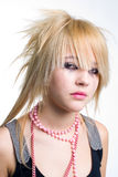 Crying emo girl portrait. Crying blond emo girl closeup portrait stock image