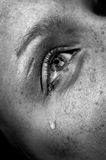 Crying eye. Crying woman's eye, black and white image, low key, selective focus Royalty Free Stock Photography