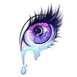 Crying eye in anime or manga style with teardrops and reflections. Highly detailed vector illustration. EPS10 vector illustration Royalty Free Stock Image