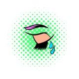 Crying eye icon, comics style Stock Photos