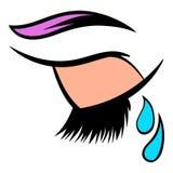 Crying eye icon, icon cartoon Stock Images