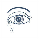 Crying eye with tears isolated on white. Royalty Free Stock Photo
