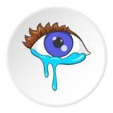 Crying eyes icon, cartoon style Royalty Free Stock Photo