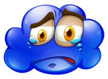 Crying face on blue cloud Stock Image