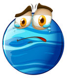 Crying face on blue planet Stock Image