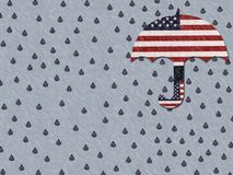 Crying For a failing America. Unprotected America crying in the rain Royalty Free Stock Image