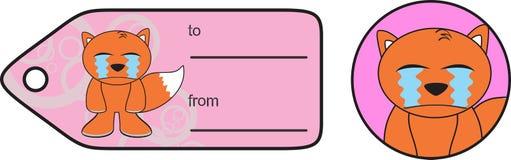 Crying Fox expression cartoon gift card Royalty Free Stock Photo
