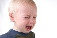 Crying Frustrated Little Boy on White Royalty Free Stock Images