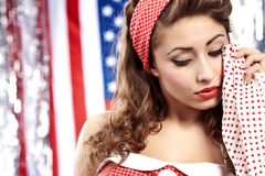 Crying girl. American pinup concept Stock Images