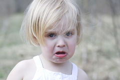 Crying girl. A portrait of a little crying girl Stock Images