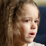 Crying girl. Looking sideways closeup photo Stock Images
