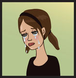 Crying girl. Girl dressed in black crying big tears Royalty Free Stock Photography