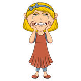 Crying girl cartoon Stock Images