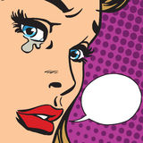 Crying girl close-up face. Vector retro pop art. Crying emotions a woman. Sad news stock illustration
