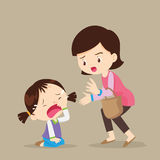Crying girl. Cute girl crying and Her Mom Comforting Upset.cartoon vector illustration Stock Photos