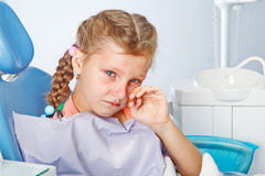 Crying girl at the dentist Stock Photo
