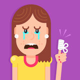 Crying girl with the hint big finger. Stock Photos