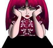 Sad Crying girl cartoon isolated Royalty Free Stock Images