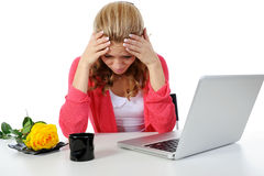Crying girl in the office. Stock Photo