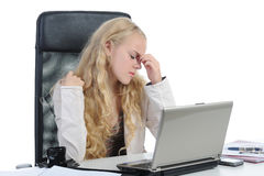 Crying girl in the office. Royalty Free Stock Images