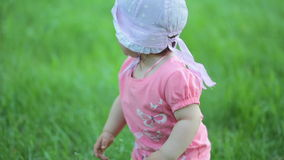 Crying girl in the park stock footage