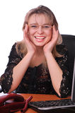 Crying girl secretary with a mobile phone Stock Images