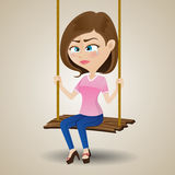 Crying girl sitting on swing Stock Images