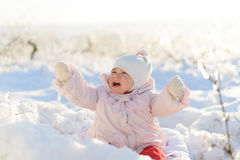 Crying Girl in Snow Royalty Free Stock Photography