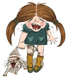 Crying girl tortures a cat. Poor catched  by the tail cat. Layered vector illustration Royalty Free Stock Photography