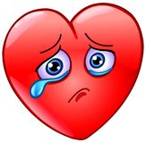 Crying heart. Sad and crying heart emoticon Stock Images