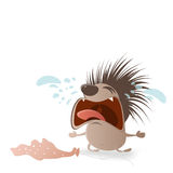 Crying hedgehog with holes in balloon Royalty Free Stock Photo