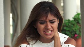 Crying hispanic adult woman. A pretty young Peruvian adult female stock footage