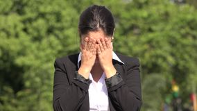 Crying Hispanic Business Woman. A pretty Colombian adult female stock footage