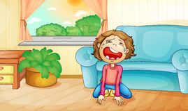 Crying at home Royalty Free Stock Images