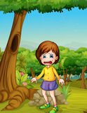 Crying. Illlustration of girl crying in woods Royalty Free Stock Images