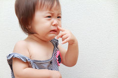 Crying Japanese baby girl. (0 year old Stock Photos