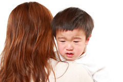 Crying Japanese little boy Stock Photos