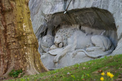 The Crying Lion Memorial, Luzern,Switzerland Stock Photo
