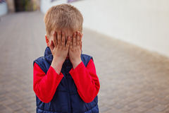 Crying Little Baby Boy. In the summer royalty free stock images
