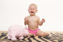 Crying little baby girl on artificial zebra skin. At the studio on the floor Stock Images