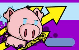 Crying little big head pig cartoon background Royalty Free Stock Photography