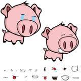 Crying little big head pig cartoon expression set Royalty Free Stock Photos